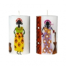 Pillar 6x10cm AFRICAN LADIES, Stumpenkerze